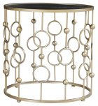 Block & Chisel round side table with iron base and mirrored top