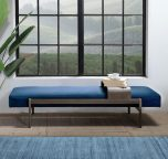 Arabel Day bed in blue navy velvet and a slidable metal table