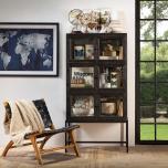 3 tier storage unit with glass doors