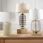 metal and glass cage lamp base with cream lamp shade