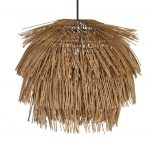 Kaitlin Bamboo Chandelier - Rustic frayed brown chandelier