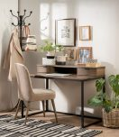 Block & Chisel antique weathered oak work table with iron base