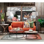 Block & Chisel orange velvet upholstered 3 seater sofa