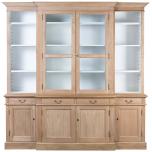 Block & Chisel solid weathered oak dresser with upper glass doors