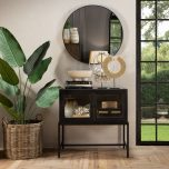 Block & Chisel black fir wood wall unit with black iron legs