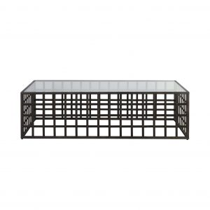 metal and glass top coffee table caged like base