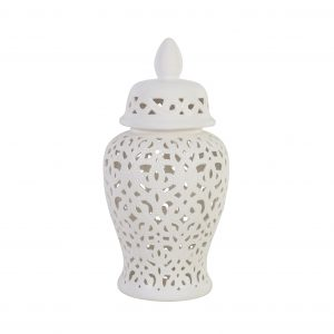 White cut out ginger jar with lid
