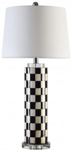 Block & Chisel black and white resin lamp with crystal base and white linen shade