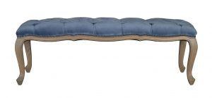 Bonny - Blue grey velvet bed end with tufted detail and wooden cabriole legs
