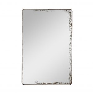 Round cornered rectangle mirror with metal frame