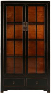 Block & Chisel black wooden cabinet with glass doors