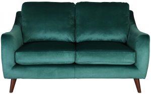 Block & Chisel green velvet upholstered 2 seater sofa